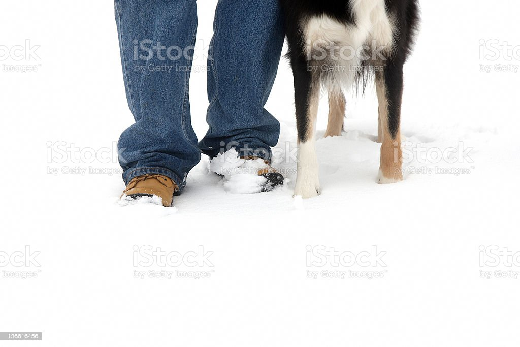 Mature man with dog in snow feet close up royalty-free stock photo