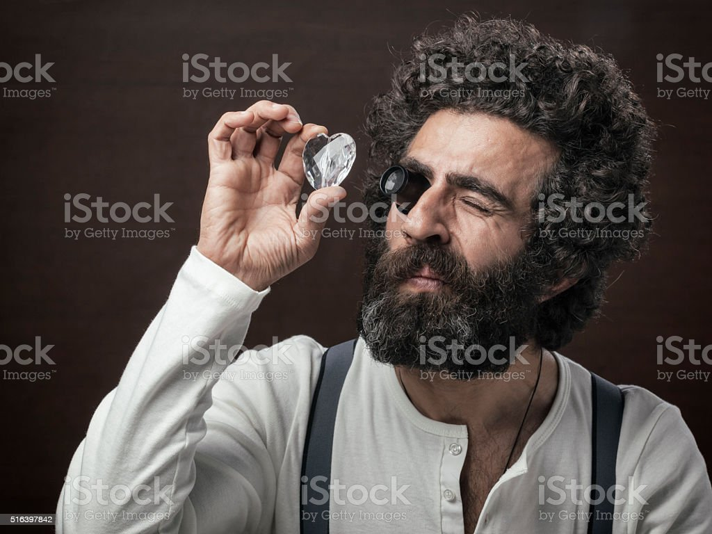 Mature man with facial hair in 1800s style stock photo