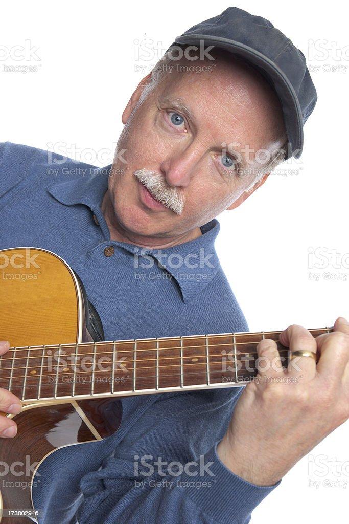 Mature Man with Guitar (XXL) stock photo