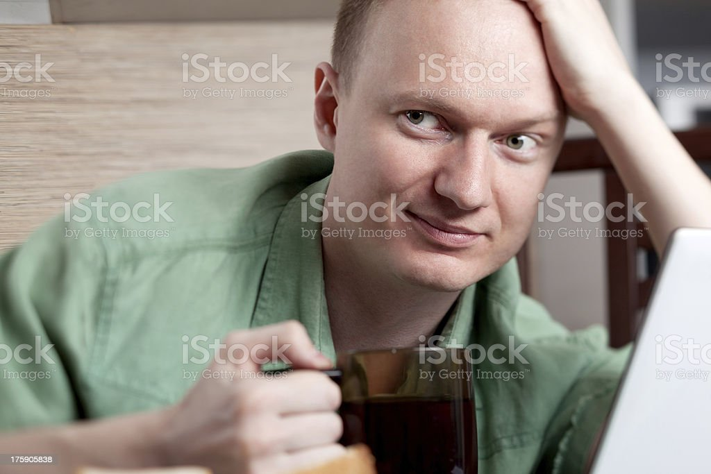 Mature man working at home royalty-free stock photo