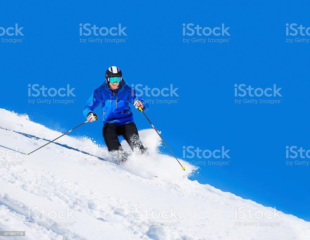 Mature men off piste skiing powder snow   Sunny ski resorts stock photo