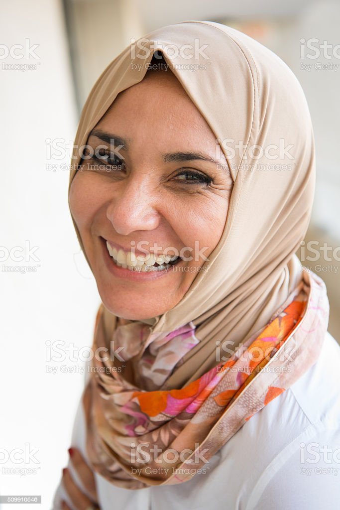 mature middle eastern muslim woman stock photo