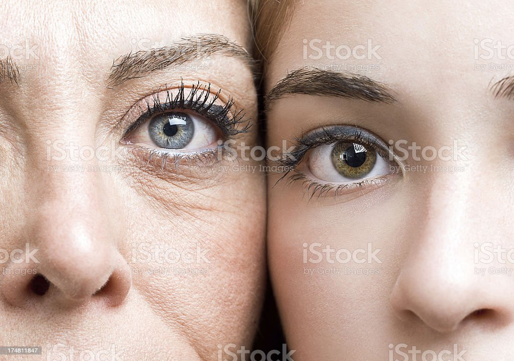 Mature mother and daughter stock photo