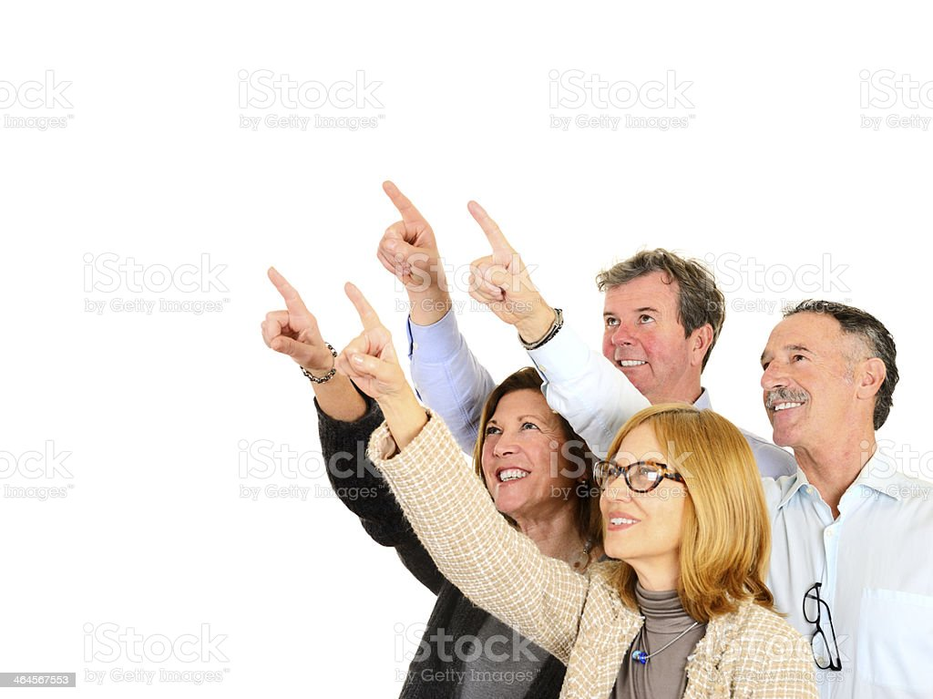 Mature People Pointing.Copy Space. royalty-free stock photo