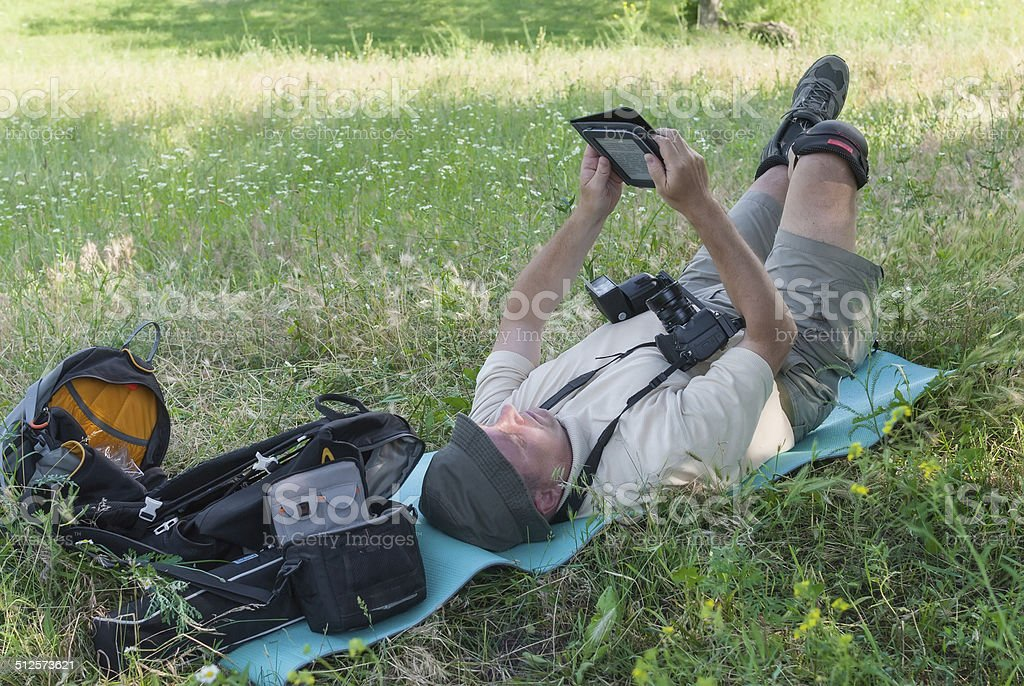 Mature photographer stock photo