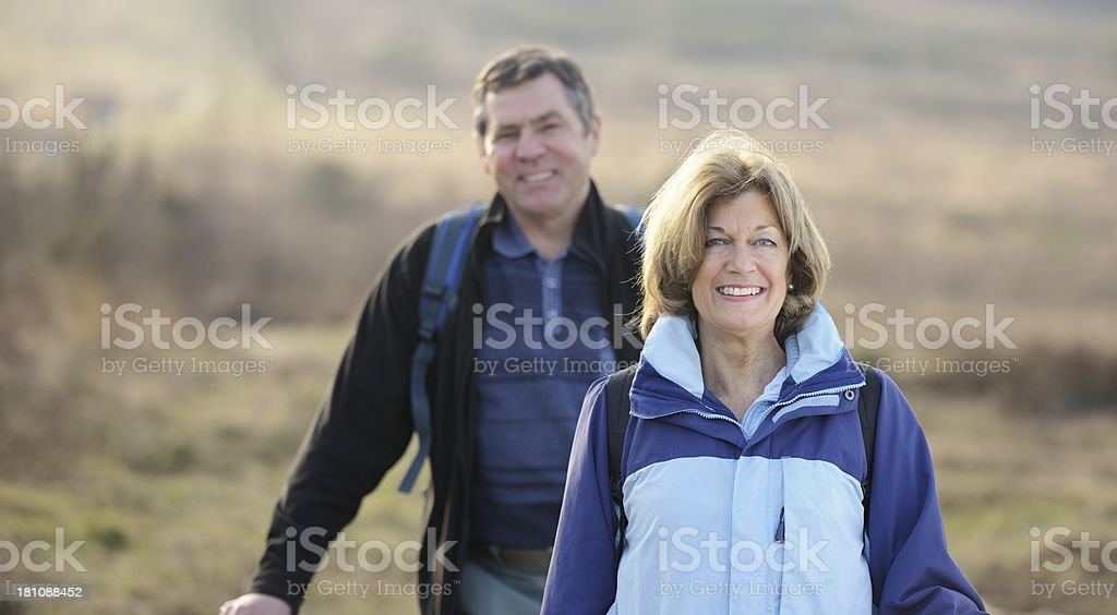 Mature/ Senior Couple Hiking royalty-free stock photo