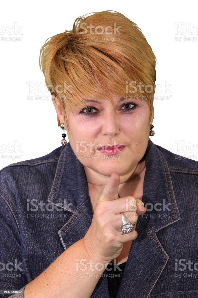 Mature Woman Body Language - Accusing stock photo