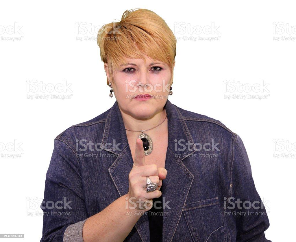 Mature Woman Body Language - Angry Warning stock photo