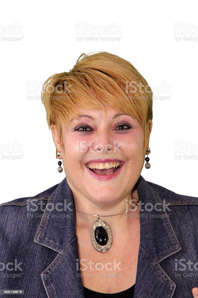 Mature Woman Body Language - Laughing stock photo