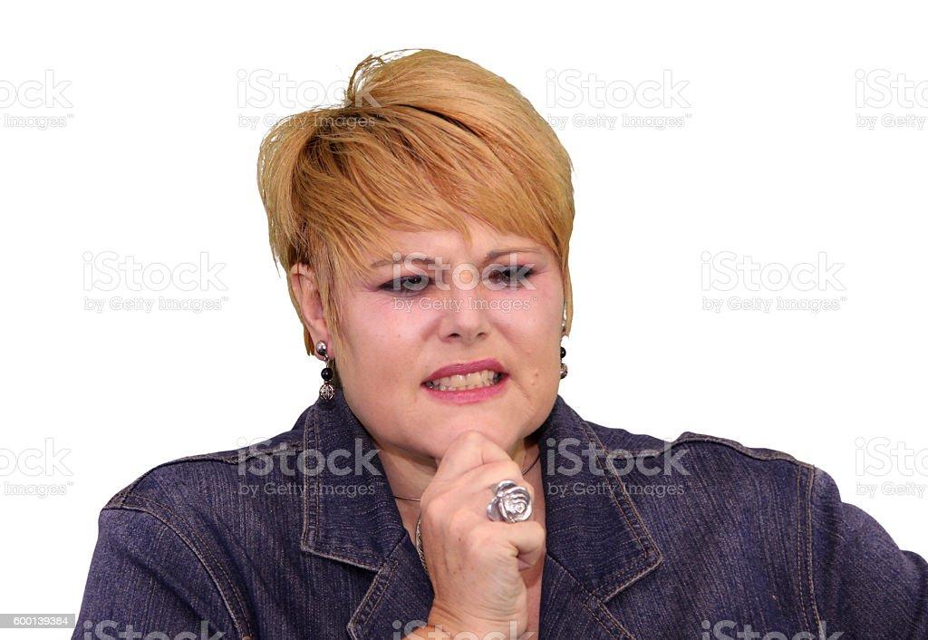 Mature Woman Body Language - Unsure stock photo