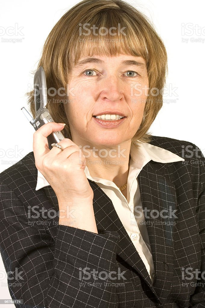 Mature Woman Business Call royalty-free stock photo