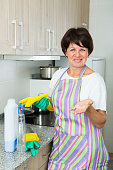 mature woman cleaning