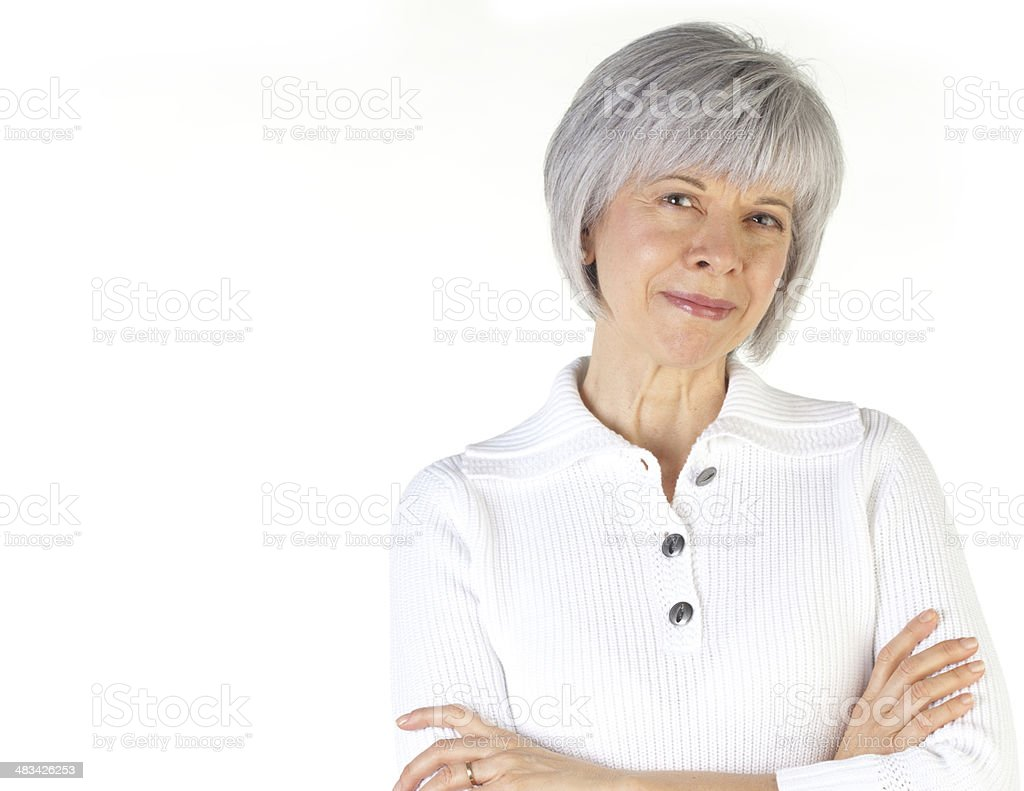 Mature Woman Crossing Arms royalty-free stock photo