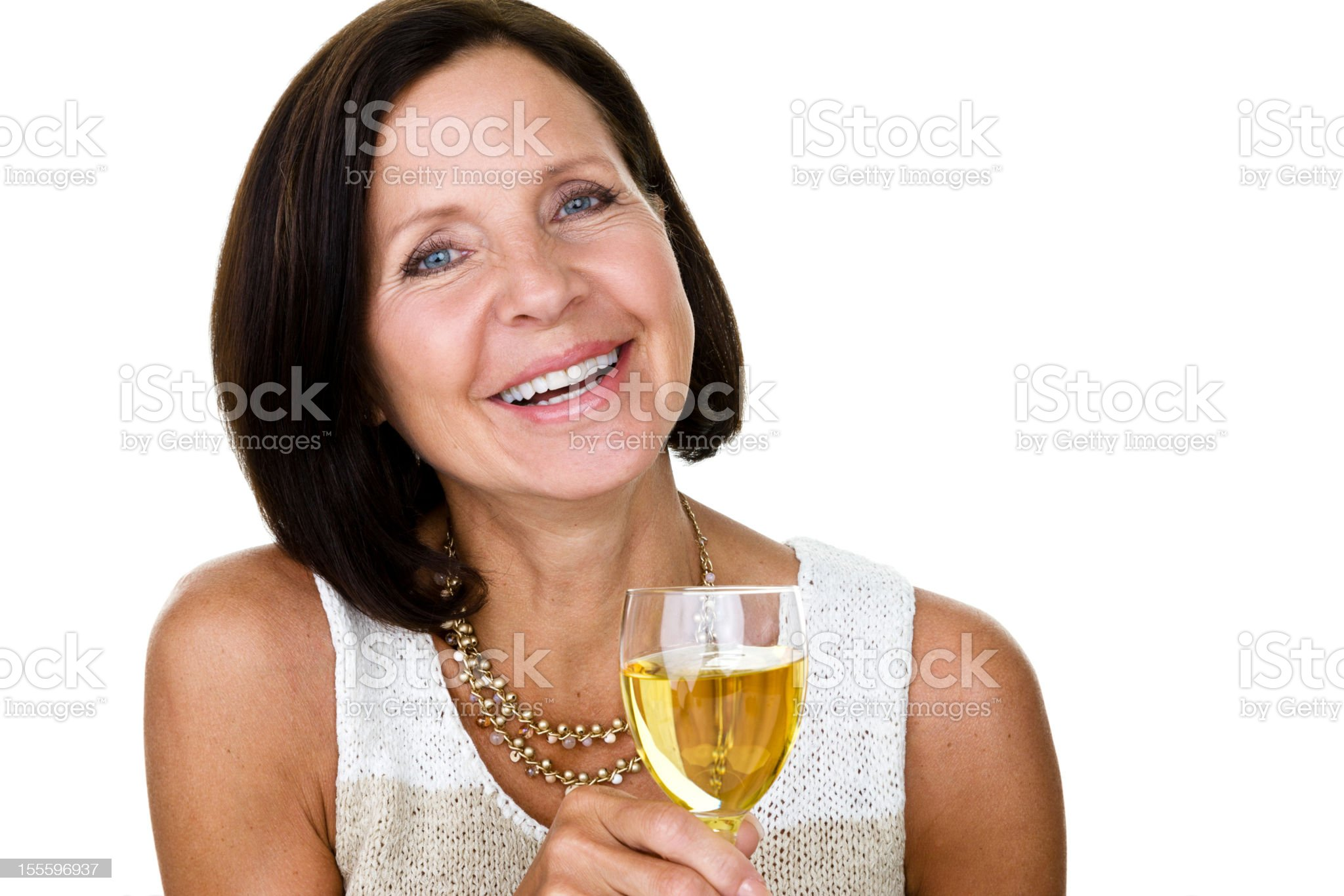Mature woman drinking wine royalty-free stock photo