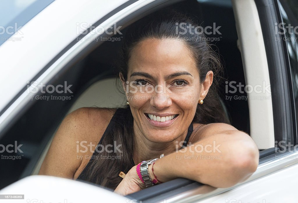 Mature woman driving royalty-free stock photo