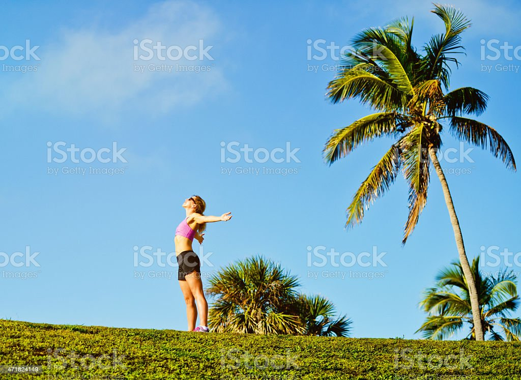 Mature Woman enjoying outdoors royalty-free stock photo