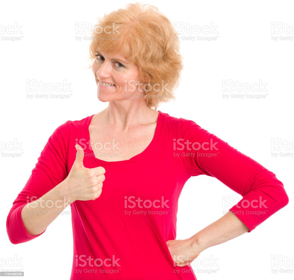 Mature Woman Gives Thumbs Up royalty-free stock photo