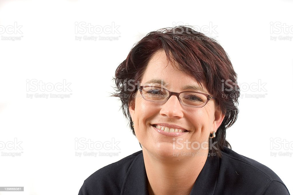 Mature woman; happy smile stock photo