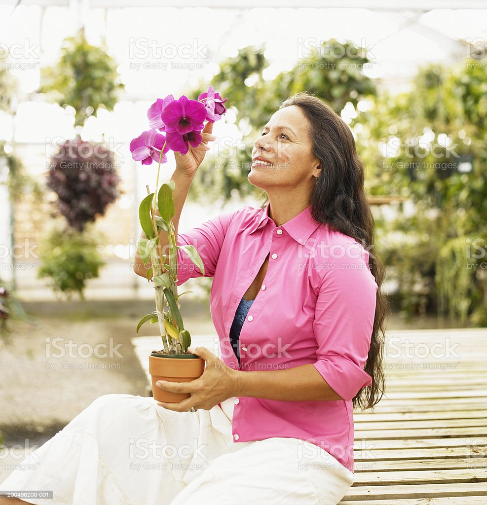Mature woman holding potted orchid plant royalty-free stock photo