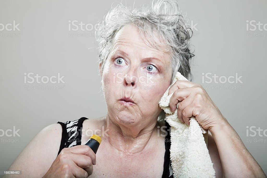 mature woman hot flash menopause portrait royalty-free stock photo
