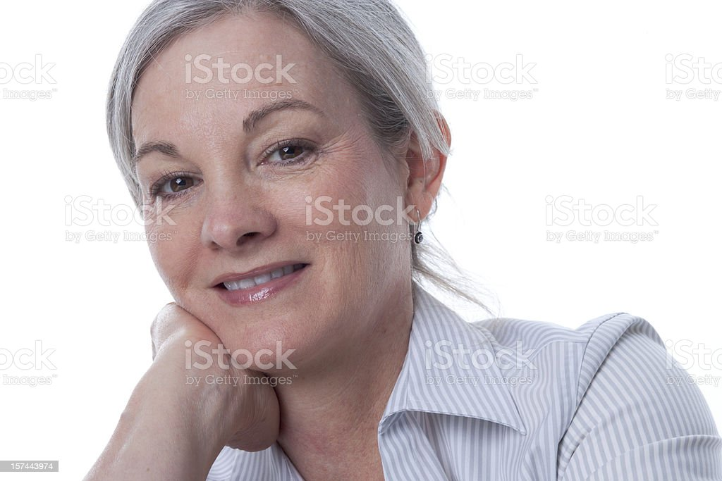 Mature Woman in Happy Pose royalty-free stock photo