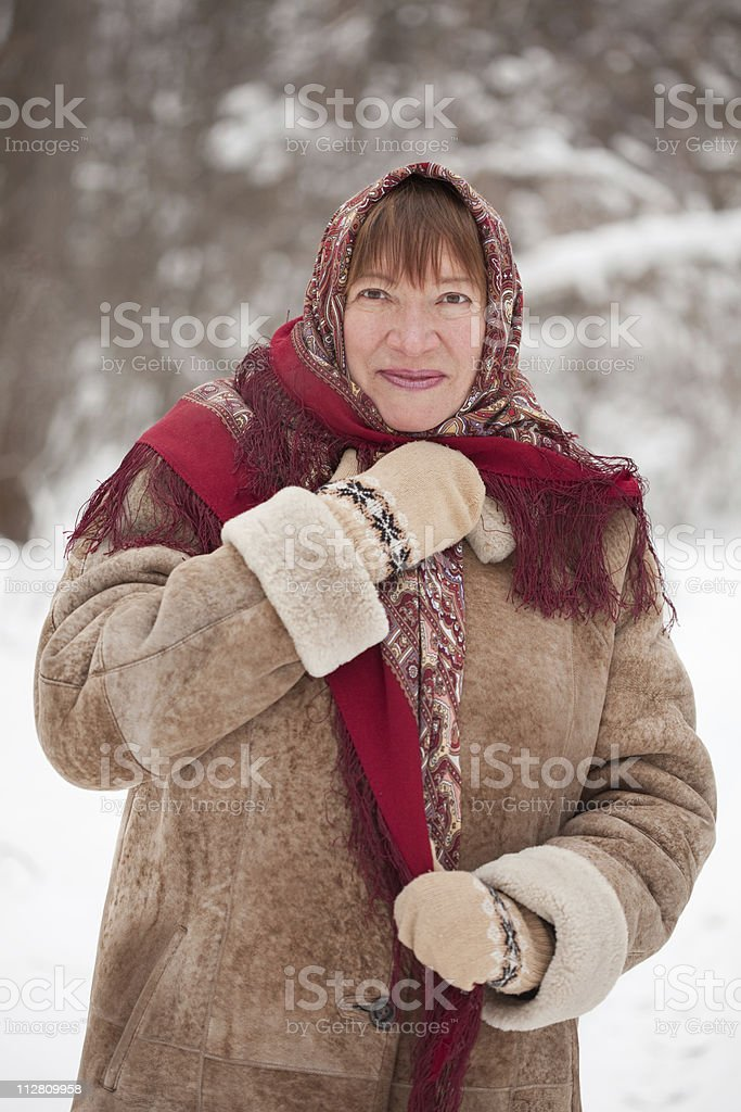 mature woman in kerchief royalty-free stock photo