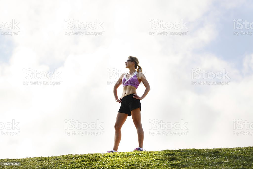 Mature Woman in sport clothes Enjoying Outdoors royalty-free stock photo