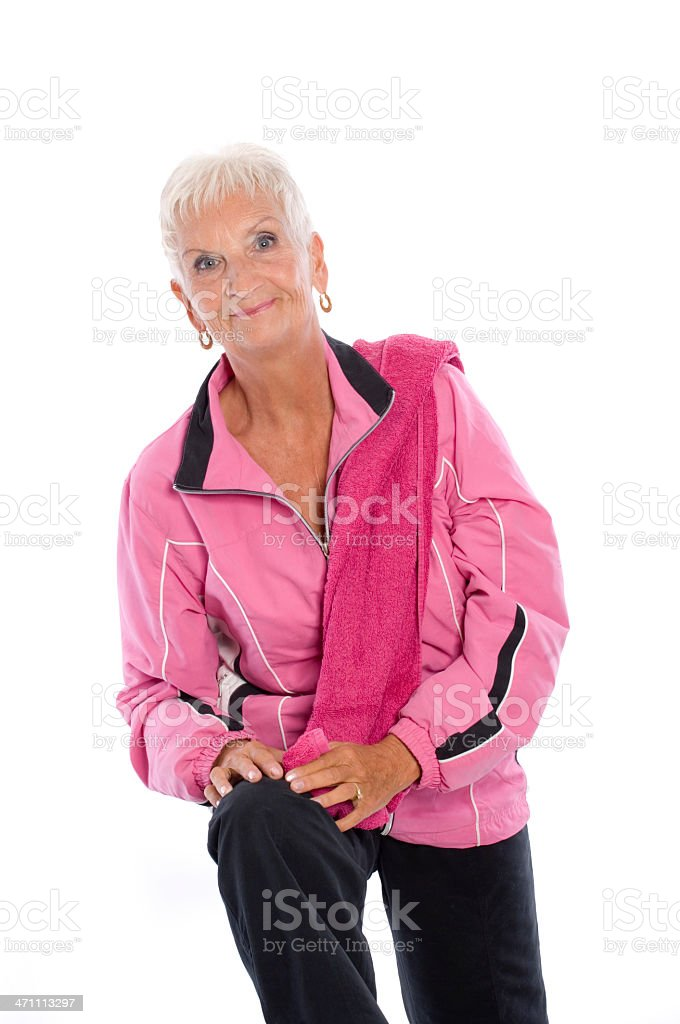 Mature woman in sport dress royalty-free stock photo