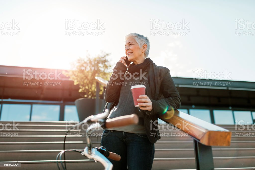 Mature Woman In the City stock photo