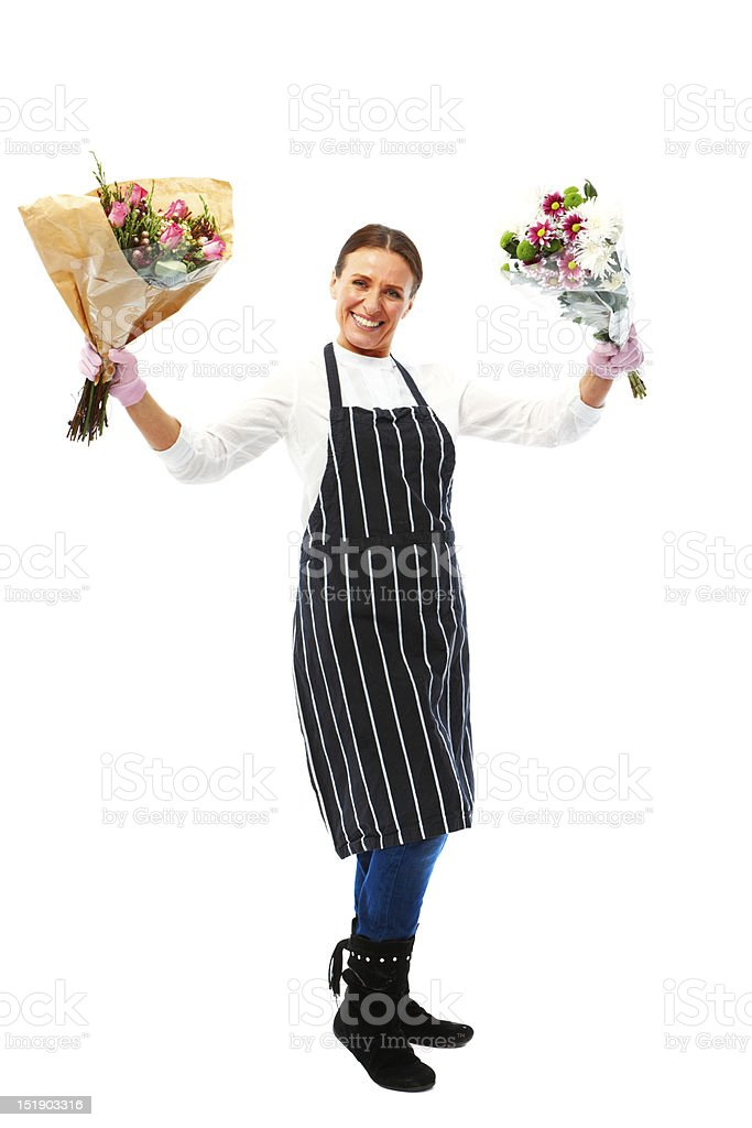 Mature woman isolated on white background with flowers royalty-free stock photo