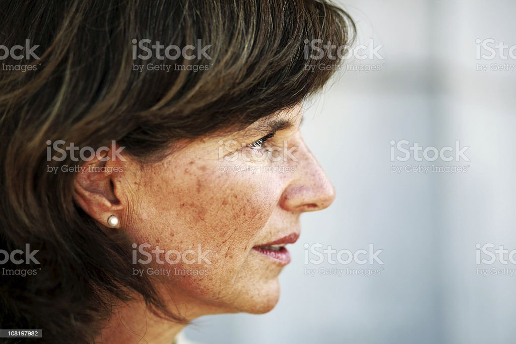 Mature Woman Looking Away stock photo