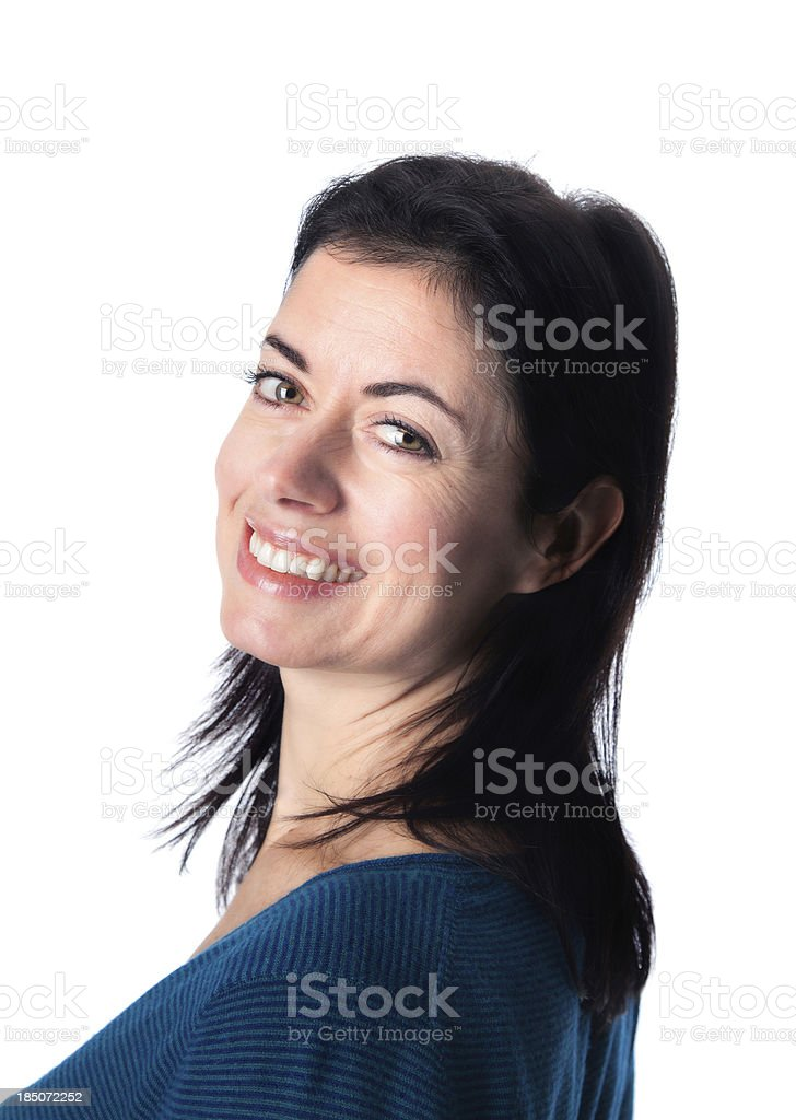 Mature Woman Looking back with a smile stock photo