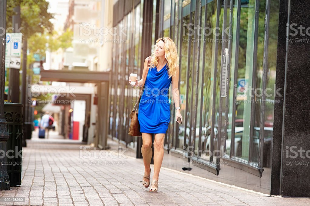 Mature woman looking for direction downtown Austin Texas stock photo