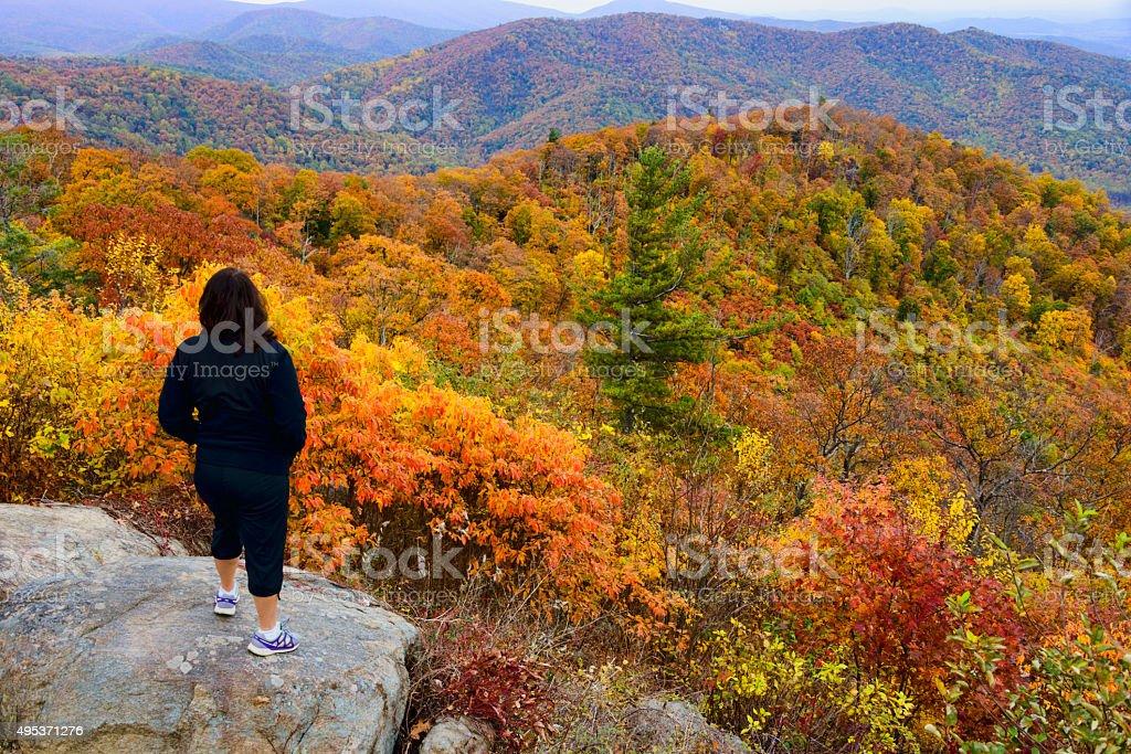 XXXL: Mature woman looking over an autumn scene stock photo