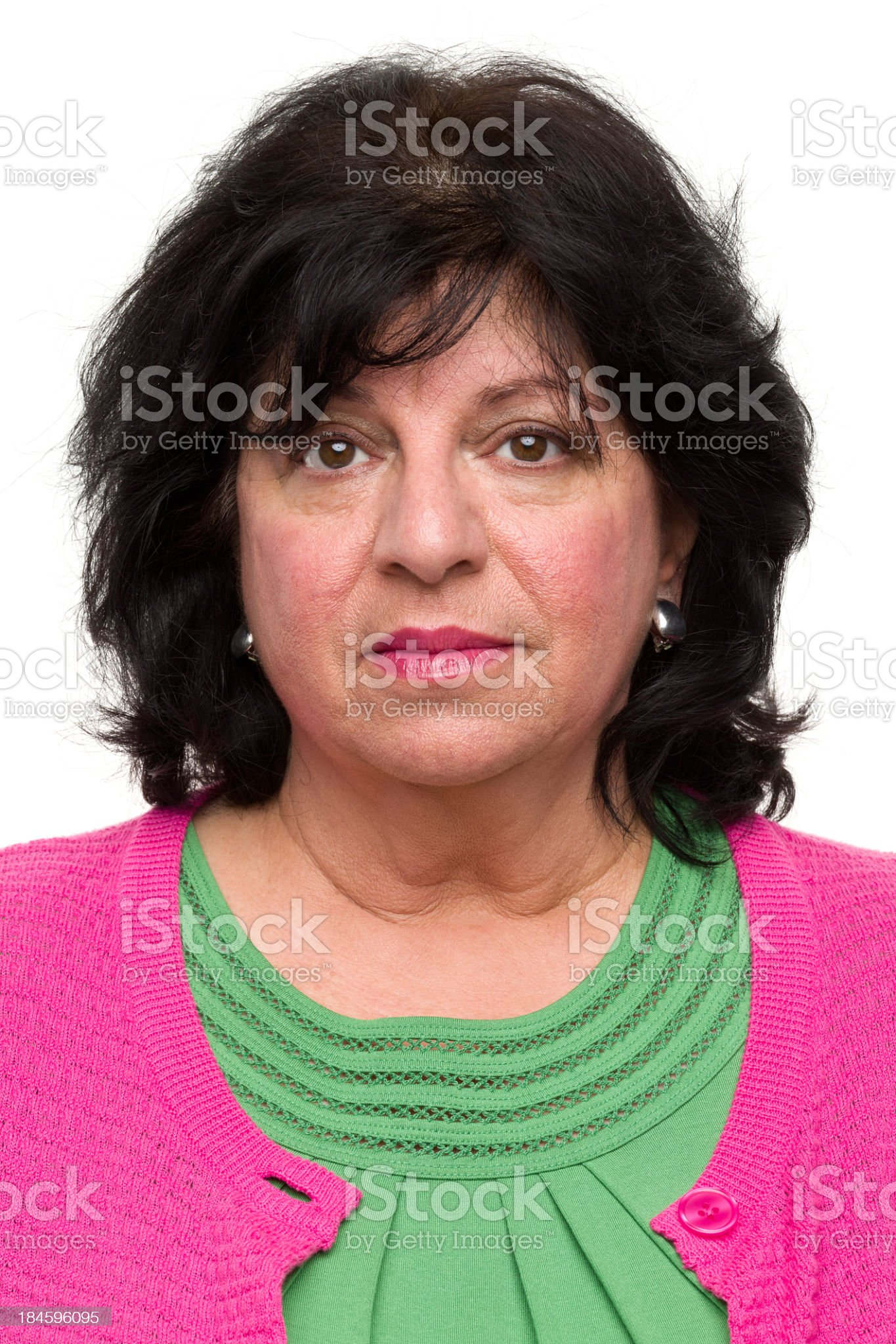 Mature Woman Mug Shot Portrait royalty-free stock photo