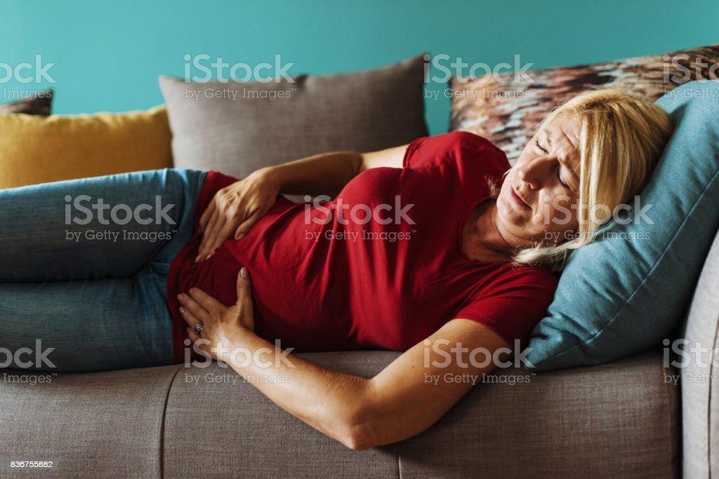 Mature woman needs medical testing stock photo