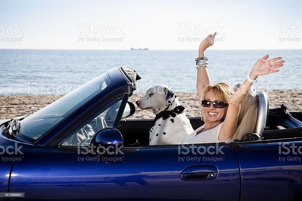 Mature woman on holidays stock photo