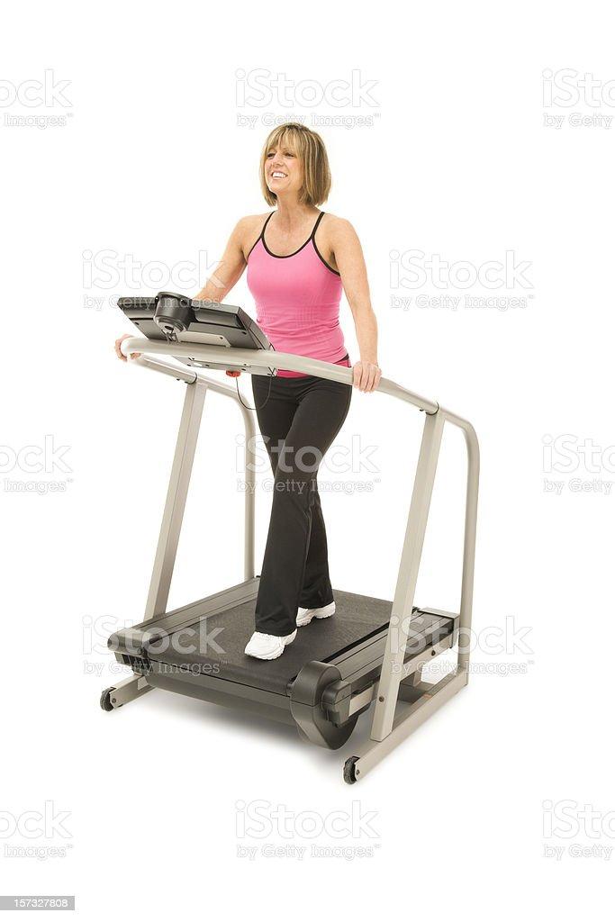 Mature Woman on Treadmill royalty-free stock photo