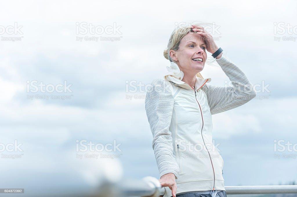Mature woman outdoors. stock photo