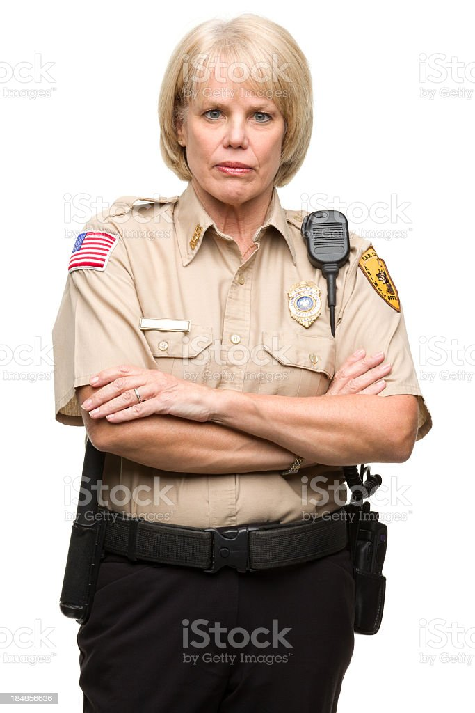 Mature Woman Police Officer Portrait royalty-free stock photo