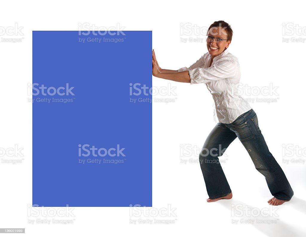Mature woman pushing imaginary box. royalty-free stock photo