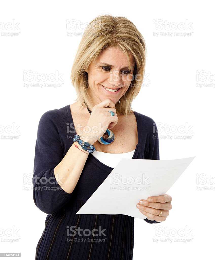 Mature woman receiving good news royalty-free stock photo