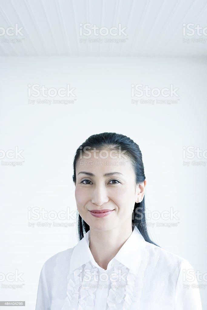 Mature Woman smiling stock photo