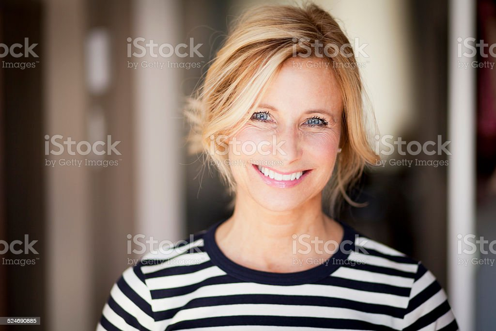 Mature Woman smiling stock photo