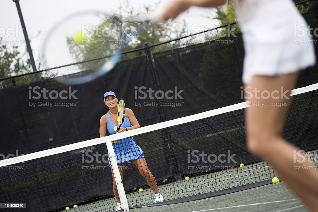 mature woman tennis coach royalty-free stock photo