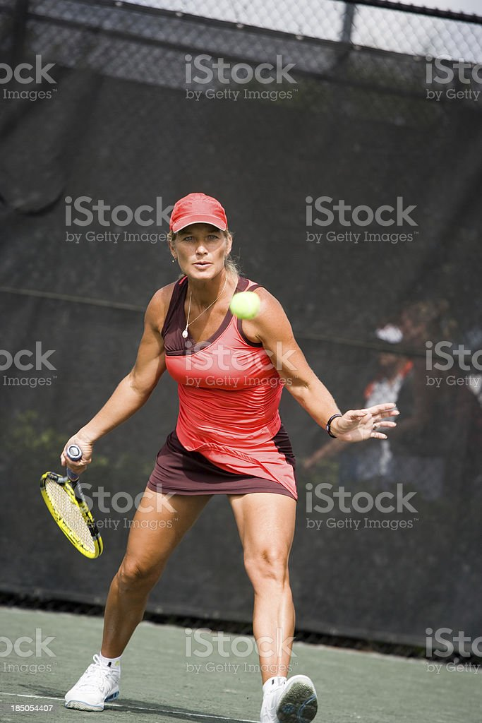 mature woman tennis player royalty-free stock photo