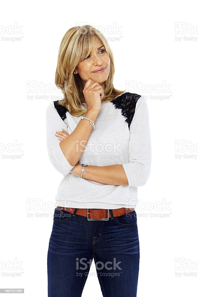 Mature woman thinking about copyspace royalty-free stock photo