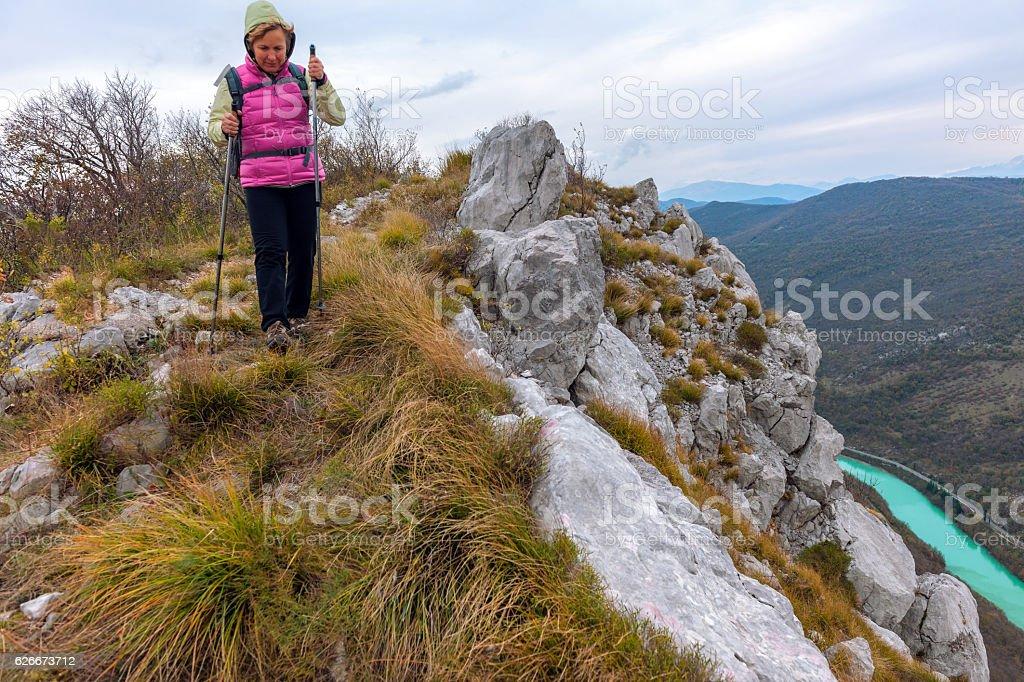 Mature  woman walks ,autumn colors, Slovenia,Europe stock photo