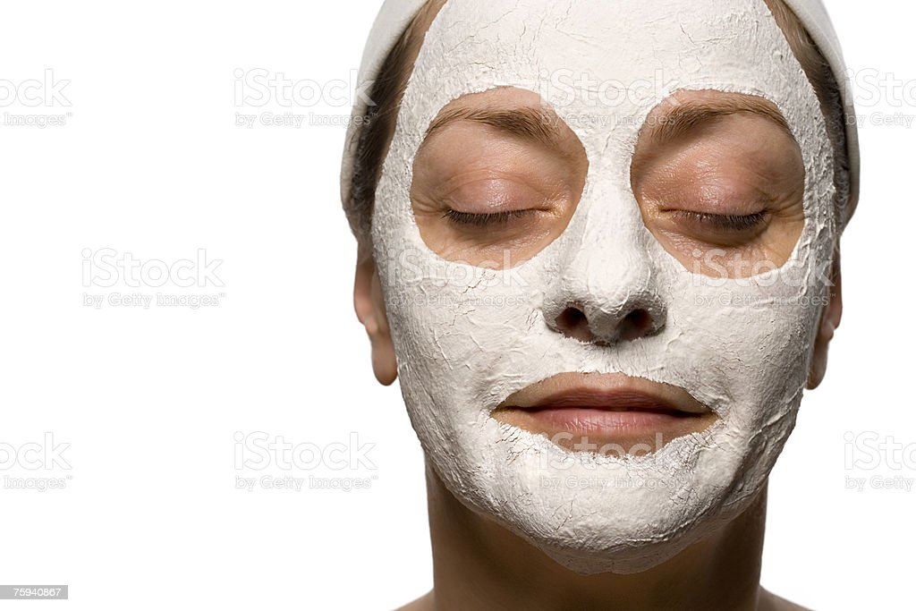 Mature woman wearing a face pack royalty-free stock photo