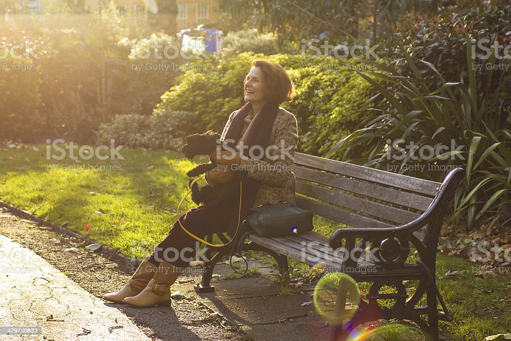 mature woman with a dog stock photo